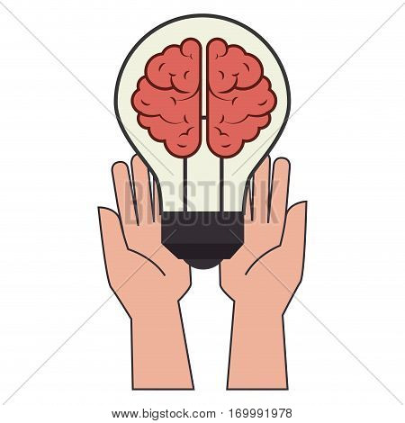 color silhouette with hands holding lightbulb with brain inside vector illustration