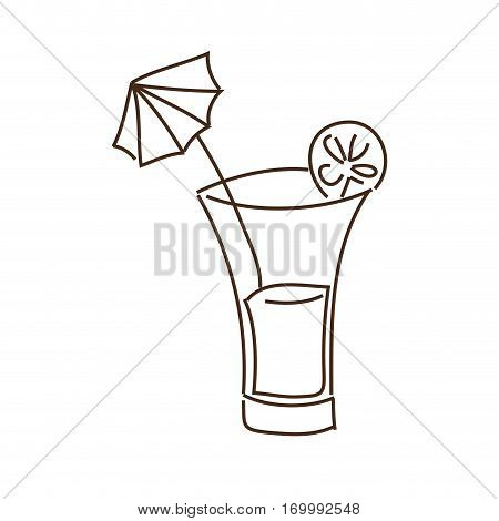 monochrome contour with cocktail drink with lemon slice and decorative umbrella vector illustration
