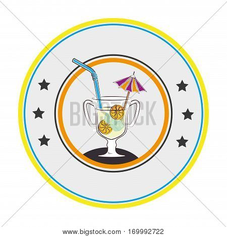 color circular frame with cocktail drink with lemon slice and straw and decorative umbrella