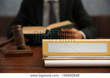 Folder on judge table, closeup
