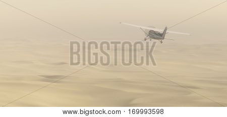 3D render of flying plane in desert sandstorm