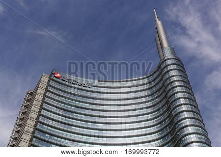 Milan, Italy - September 15, 2016: Unicredit tower is a skyscraper in Milan, Italy and it is the tallest building in Italy