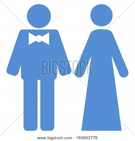 Just Married Persons vector icon symbol. Flat pictogram designed with blue and isolated on a white background.