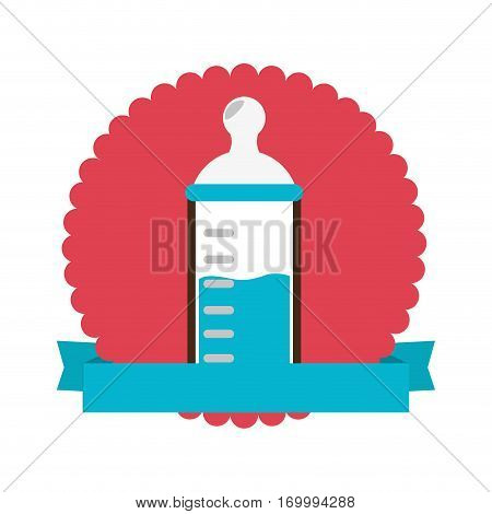 colorful silhouette with baby bottle in circle with ribbon vector illustration
