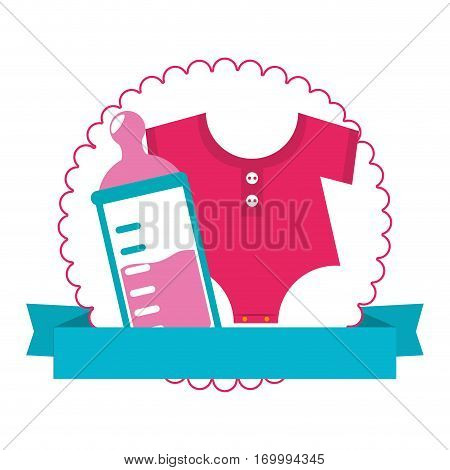 colorful silhouette with baby bottle and baby clothes in circle with ribbon vector illustration