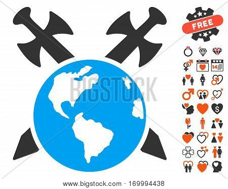 Earth Swords icon with bonus lovely pictures. Vector illustration style is flat iconic elements for web design app user interfaces.