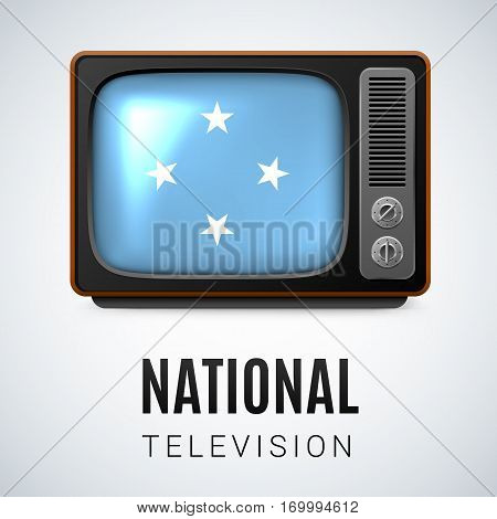Vintage TV and Flag of Federated States of Micronesia as Symbol National Television. Tele Receiver with flag design