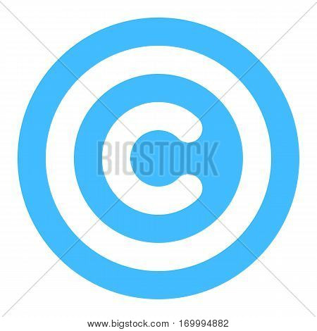 The copyright symbol, or copyright sign, a circled capital letter C. Flat style button web internet icon. Vector illustration a graphic element for design