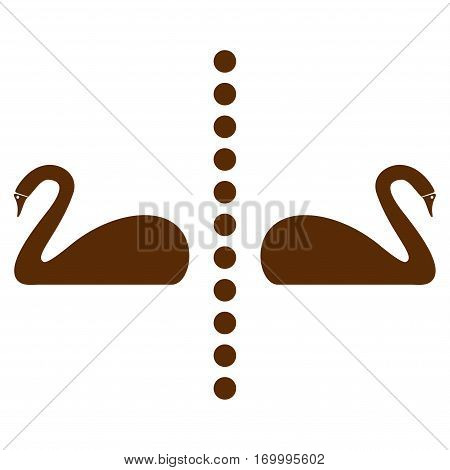 Separate Swans vector icon symbol. Flat pictogram designed with brown and isolated on a white background.