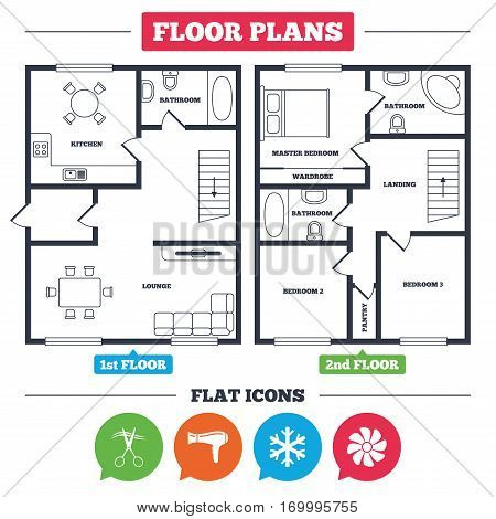 Architecture plan with furniture. House floor plan. Hotel services icons. Air conditioning, Hairdryer and Ventilation in room signs. Climate control. Hairdresser or barbershop symbol. Vector