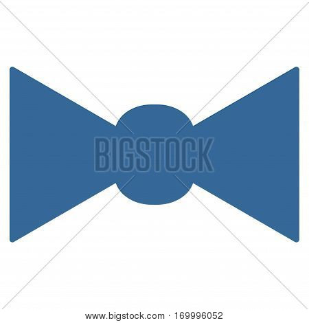 Bow Tie vector icon symbol. Flat pictogram designed with cobalt blue and isolated on a white background.