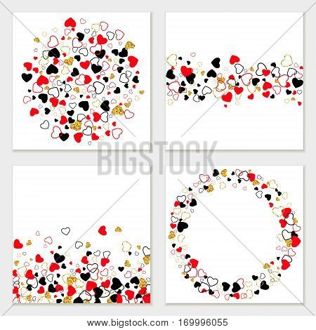 Vector creative greeting card set of Golden Glitter, Line, Color Hearts. Modern Valentines Day, Wedding, Anniversary, Birthday, Party Invitation background.