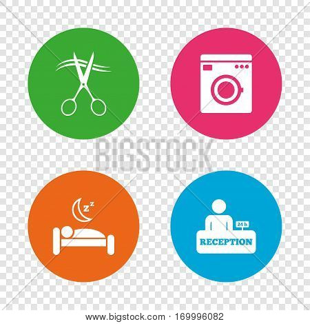 Hotel services icons. Washing machine or laundry sign. Hairdresser or barbershop symbol. Reception registration table. Quiet sleep. Round buttons on transparent background. Vector