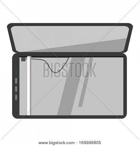 Vector icon of scanner machine. Office equipment for document digital scan or copy. Hardware graphic illustration in flat design. Modern scanning device, isolated on white background.