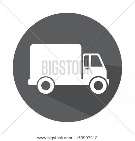 grayscale circle with truck with wagon vector illustration