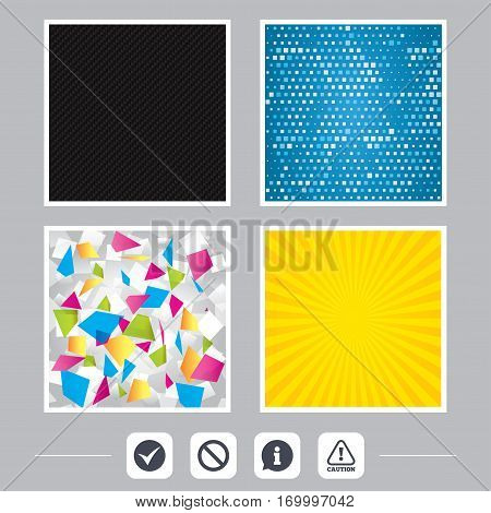 Carbon fiber texture. Yellow flare and abstract backgrounds. Information icons. Stop prohibition and attention caution signs. Approved check mark symbol. Flat design web icons. Vector