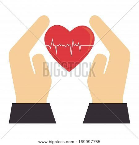 colorful silhouette with hands and heart with signs of life vector illustration