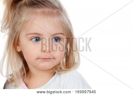 Pretty blonde baby girl with blue eyes isolated on a white background