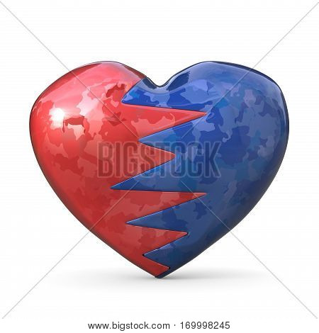 Broken heart two pieces red and blue one. 3D render illustration isolated on white background