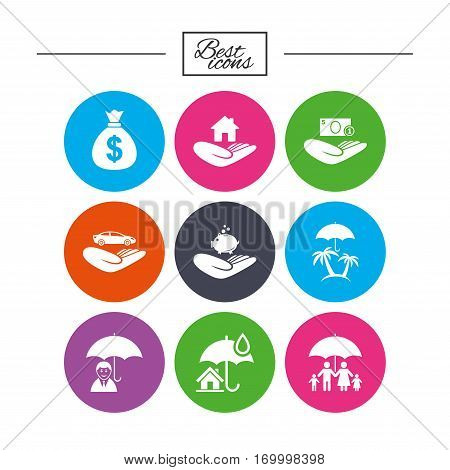Insurance icons. Life, Real estate and House signs. Money bag, family and travel symbols. Classic simple flat icons. Vector