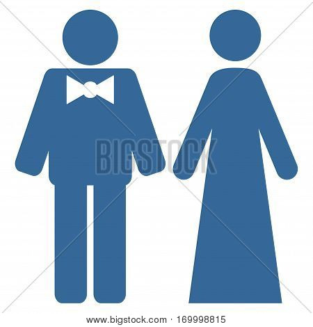 Just Married Persons vector icon symbol. Flat pictogram designed with cobalt blue and isolated on a white background.