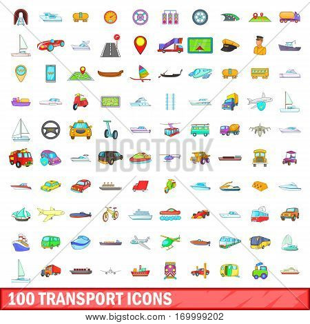 100 transport icons set in cartoon style for any design vector illustration