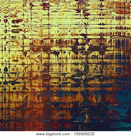 Decorated texture, antique vintage background with different color patterns: yellow (beige); brown; blue; red (orange); purple (violet); pink