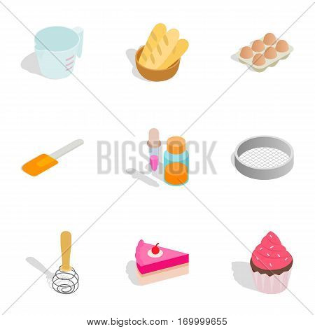 Confectionery icons set. Isometric 3d illustration of 9 confectionery vector icons for web