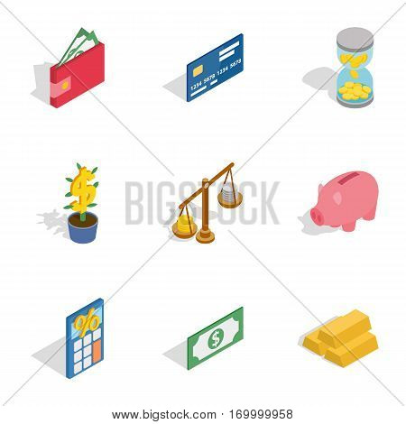 Banking icons set. Isometric 3d illustration of 9 banking vector icons for web
