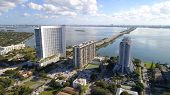 Aerial drone photo of Edgewater Miami and views of Biscayne Bay poster