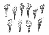 Olympic flame or fire torch icons. Vector set of isolated burning sport or contest torches flames. Symbols of relay race, competition victory, champion or winner and football sports or sportive games championship or marathon poster