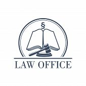 Legal office or center icon with symbol of judge gavel, justice law code, silcrow section sign or paragraph on open book. Lawyer or advocate emblem for attorney or advocacy and juridical counsel or notary company poster