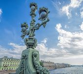 beautiful lamp on Trinity Bridge in St. Petersburg on the Neva poster