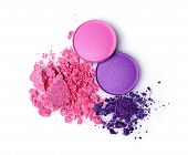 Round purple crashed eyeshadow for make up as sample of cosmetics product isolated on white background poster