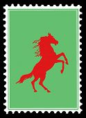 red horse on postage stamps poster