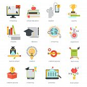 Online education ouitline icons vector set of distance education school and webinar education symbols. poster