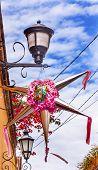 Pink Christmas Pinata Decoration Street Lamps Bougainvillea Aldama Street San Miiguel de Allende Mexico poster