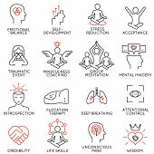 Vector set of 16 linear icons related to mindfulness awareness consciousness and mental conditions. Mono line pictograms and infographics design elements - part 3 poster