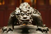 bronze figure of chinese mythological beast closeup poster