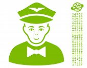 Airline Steward pictograph with bonus human symbols. Vector illustration style is flat iconic eco green symbols on white background. poster