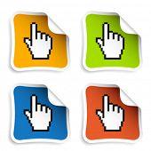 vector pixel cursor hand stickers poster