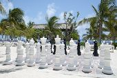 The big size chess waiting for players on Grand Turk island beach (Turks & Caicos). poster