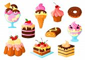 Cakes, pies and sweets desserts vector isolated icons of fruit cupcake and chocolate glaze, ice cream, tart and donut, cinnamon roll bun and pudding with cream fondant. Isolated set for bakery shop, pastry and patisserie or confectionery poster