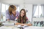 Smiling mother assisting daughter in doing homework at table poster