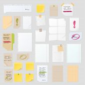 Stickers and notes, paper sheet sticky list isolated vector illustration. Message office different note business blank adhesive notice. Stationery empty reminder. poster