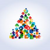 Christmas tree from multicolored squares poster