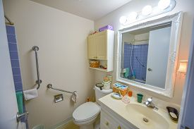 Bright, clean, neat & tidy, decorated senior's bathroom, complete with safety assist handle bars, medicine cabinet, shower space & lavatory with vanity.  Bright compact florescent lighting.