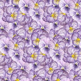 Violet pansy flower seamless pattern design.W atercolor illustration