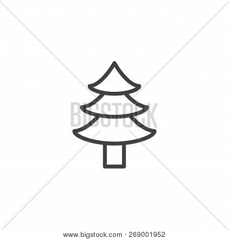 Coniferous Forest Outline Icon. Linear Style Sign For Mobile Concept And Web Design. Christmas Tree