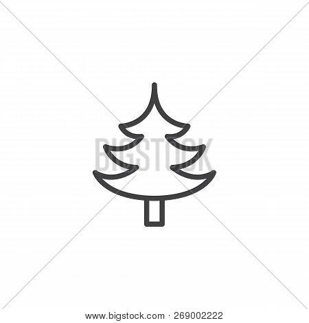 Spruce Tree Outline Icon. Linear Style Sign For Mobile Concept And Web Design. Coniferous Forest Sim